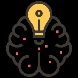 Imagem PNG de um cérebro com uma lampada acessa